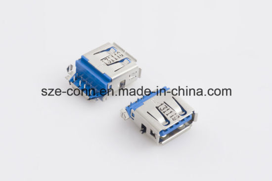 Consumer USB 3.0 Type a Receptacles Right-Angle Usbx-A9fx-Xxr0-06 pictures & photos