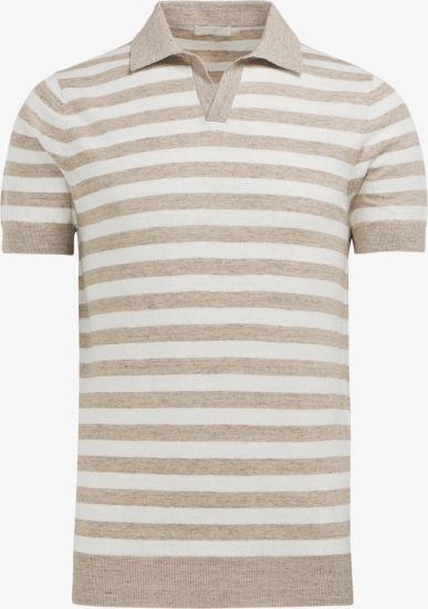Men's Fashion Clothing Sand Stripe Polo T-Shirt Sweater