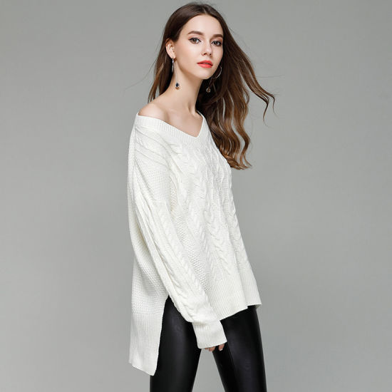 Pullover Clothing Sexy V-Neck Fashion Knitwear Ladies Casual Sweater
