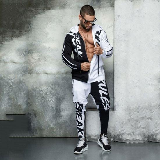 2021 OEM Comfortable Sports Hoodie and Sweat Pants Set Tracksuits Wholesale 2 Piece Zip Hoodie Track Suit Men