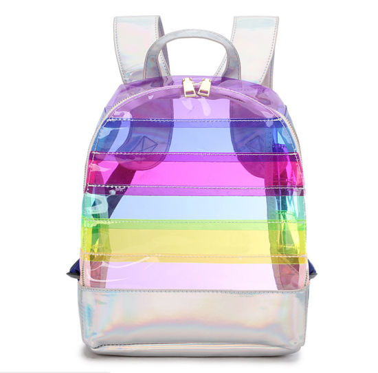Fashion Laser PVC Rainbow Color Backpack Lady's Jelly Bag