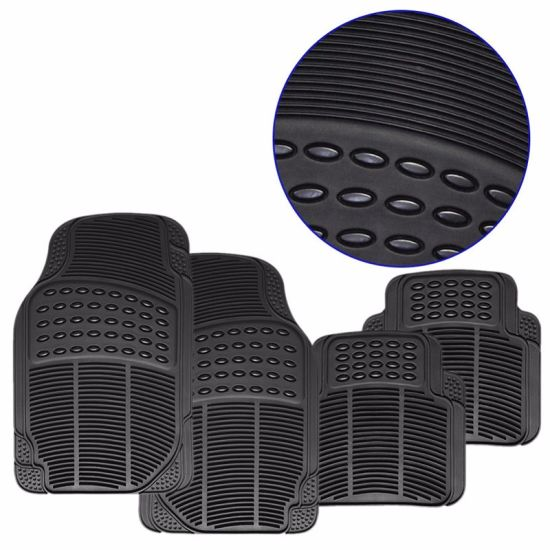 4PCS Heavy-Duty All-Weather PVC Rubber Car Floor Mats in Black Color, Trimmable Semi-Custom Fit