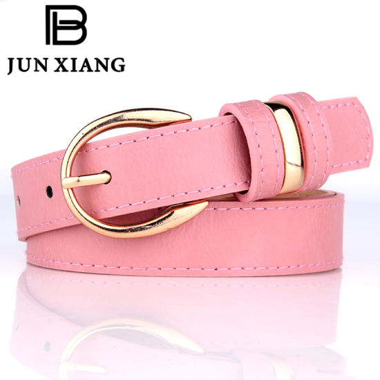 Lady Classic Fashion PU Belt with Third Loops