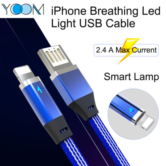 Smart Auto Power off Smart Charging Cable with Breathing LED for iPhone