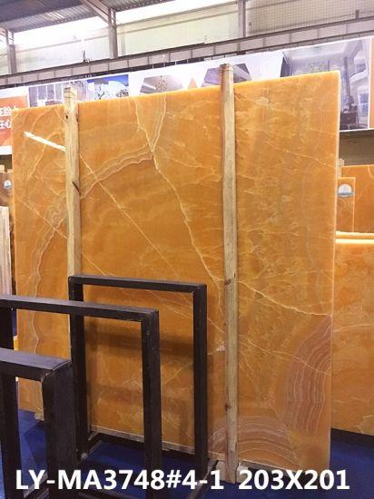 Yellow Orange Onyx Slab for Luxury Hotel Renovation