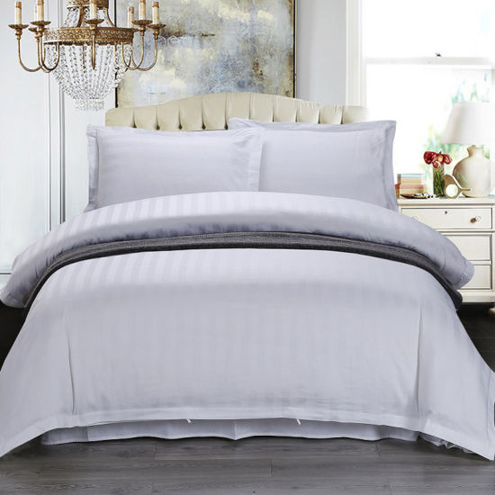 White Satin Stripes Western Bedspread Comforter Bedding for Hotel Home Supplies
