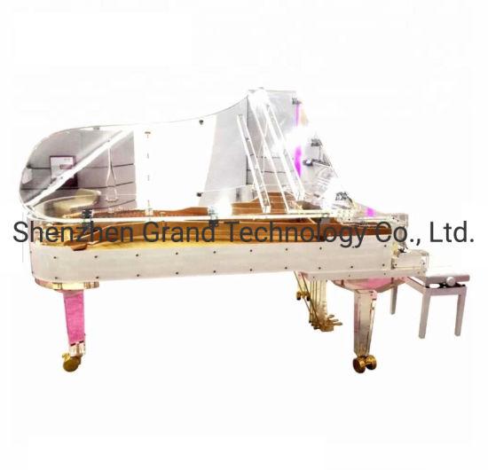 Transparent Semi Concert White Rim Acrylic Grand Piano 238cm