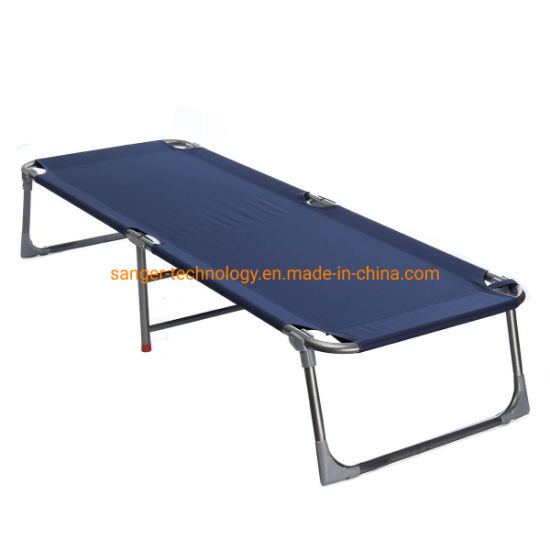 Blue Folding Camping Bed Outdoor Portable Military Cot Sleeping Hiking Travlling