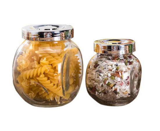 Clear Ball Shape Round Mason Glass Storage Jar With Cap