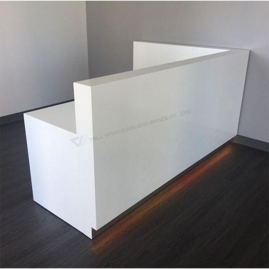Fancy Reception Desk with LED Light Beauty White Corian Stone Antique  Reception Desk - China Fancy Reception Desk With LED Light Beauty White Corian Stone