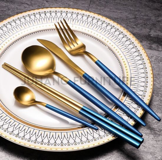 Portugal Style Gold Brush Stainless Steel Dinner Cutlery Set (HM-E011)