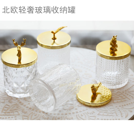 The New Factory Directly Supplies High White Metal Cover Glass Candy Jar Home Decoration Storage Jar Cotton Pick Tube Cosmetics Box