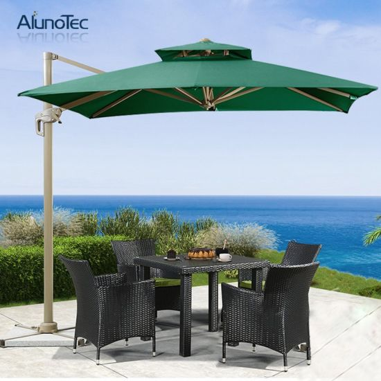 Roman Aluminum Frame Outdoor Marble Base Folding Patio Umbrella