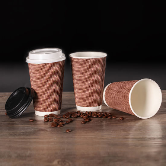 Custom Logo Biodegradable 4oz/8oz/12oz/16oz Ripple Hot Drink Coffee Paper Cup