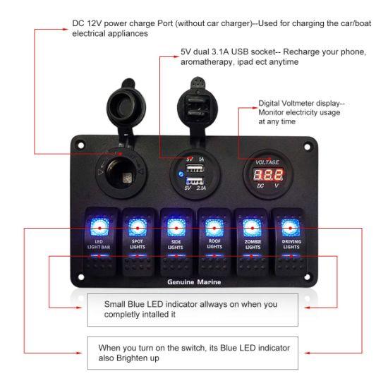 6/8 Gang Rocker Switch Panel Fuse Panels Waterproof Digital Voltmeter Display Dual USB Charger Port DC 12V Socke