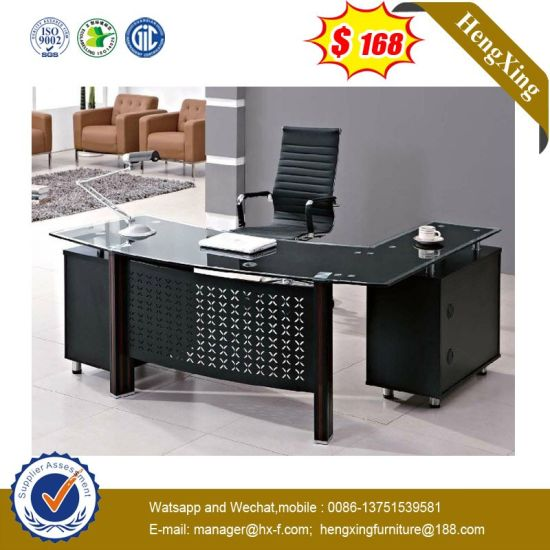 Modern L Shape Tempered Glass Office Standing Desk pictures & photos