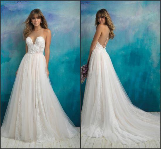 2019 Sleeveless Wedding Gown Backless Beach Bridal Dresses W14045