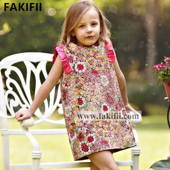 2021 New Style Children Clothes Cutomised Wholesale Kids Apparel Fashion Clothing Flora Baby Girl Dress