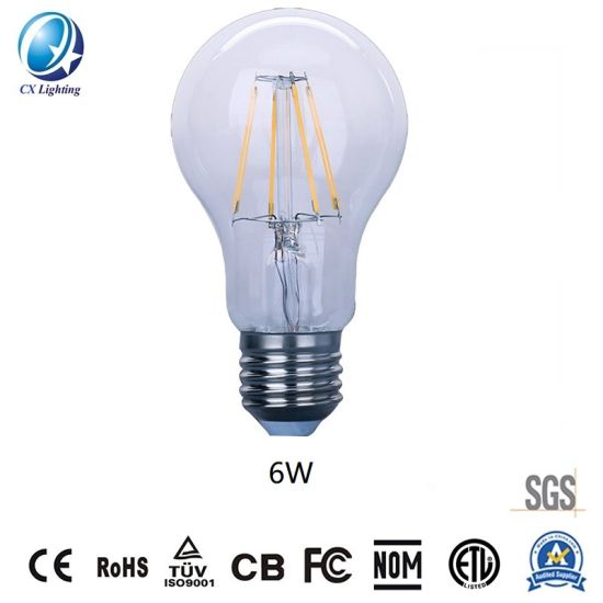 Hot Sale Lamps LED Filament Bulb A60 6W E27/B22 100-240V 480lm-960lm Equal 40W to 100W Incandescent Bulb Clear, Frosted, White as Option