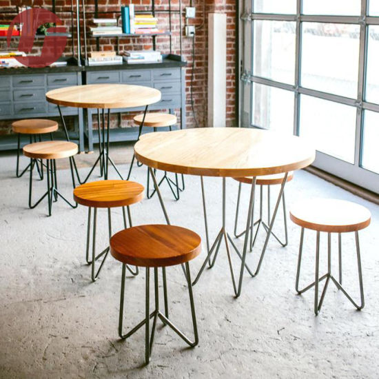 Metal Furniture Coffee Shop Bar Table and Chair Restaurant Metal Stainless Steel Furniture