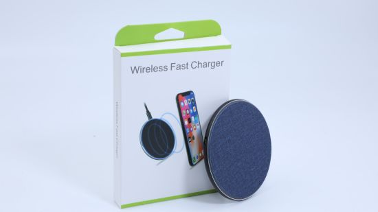10W Fabric Round Thin Wireless Charger Use for Qi-Enabled Cell Phones