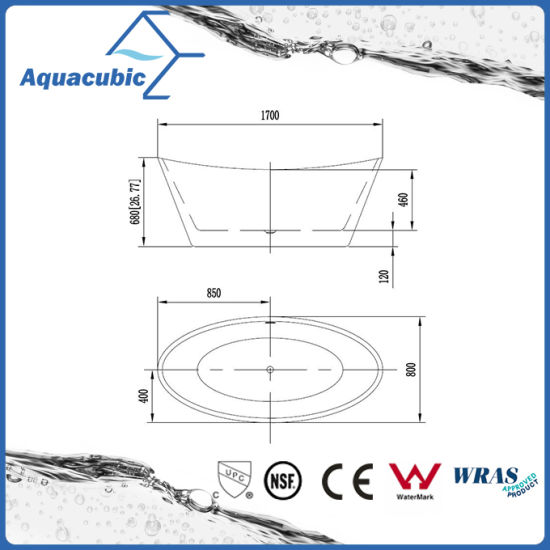 Bathroom Pure Acrylic Seamless Freestanding Bath Tub (AB6506) pictures & photos