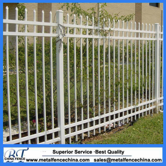 Black Powder Coated Steel Metal 3 Rail Garden Fence Panel