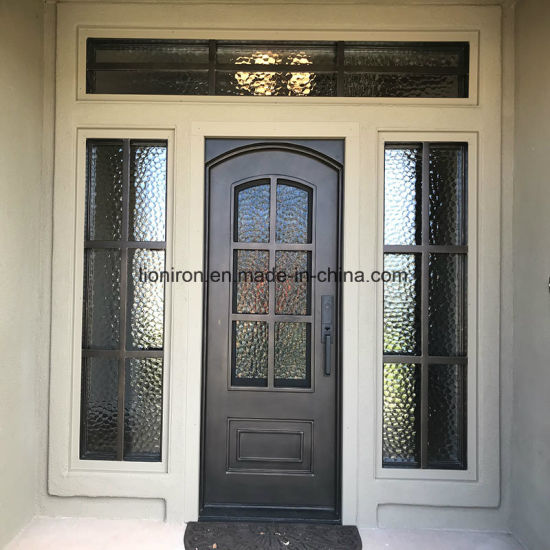 Wrought Iron Elegant Entrance Door With Tempered Gl