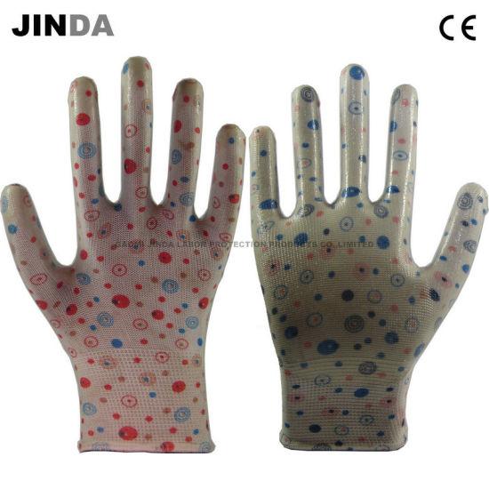 Transparent Nitrile Coated Flower Color Liner Garden Work Gloves (NS403)