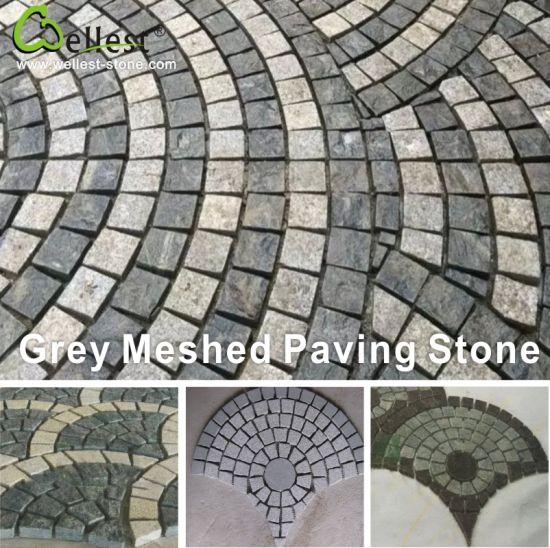 Natural Meshed Granite/Basalt/Slate/Bluestone Fan Shape Paving Stone for Garden/Driveway