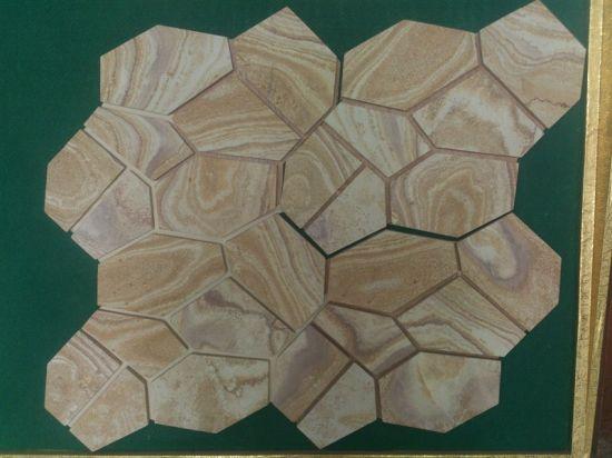 Yellow Wooden Sandstone Tiles on Mesh (SSS-52)