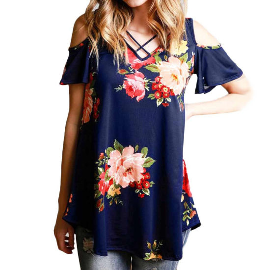 Women Oversized Floral Printing off Shoulder White T-Shirt pictures & photos