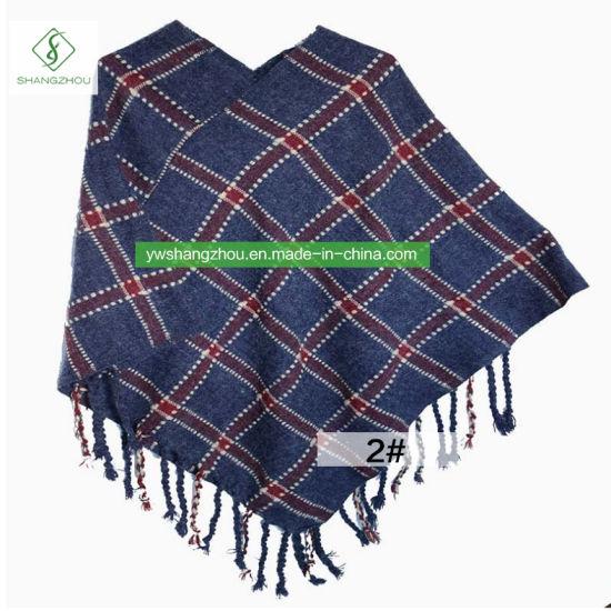 b7cd7b812 China High-Quality Europe Winter Plaid Wool Shawl Fashion Women Warm ...