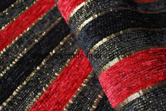 Stripe Design Black and Red Chenille Sofa Fabric (FTH31003B)