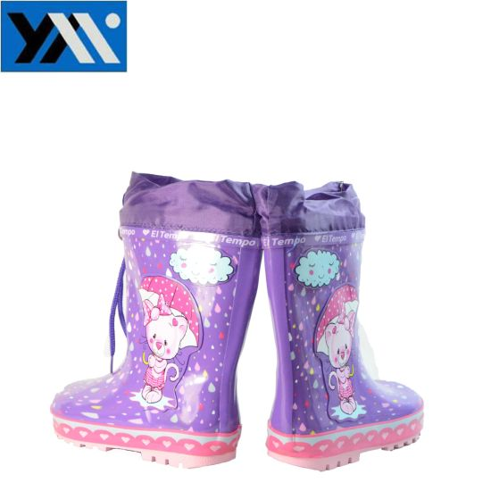 100%Waterproof Colorful Kids Rubber Rain Boots with Cartoon Patterns pictures & photos