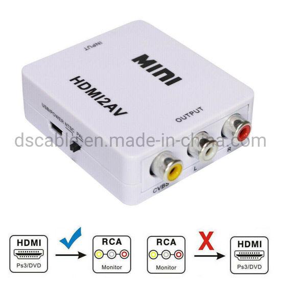 Mini Composite Audio Video 1080P HDMI To RCA AV CVBS Converter Adapter For TV