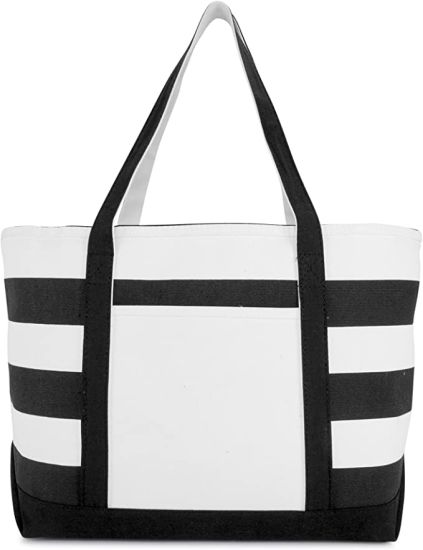 Cotton Canvas Zipper Shopping Tote Grocery Bag