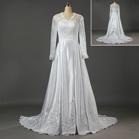 Princess Long Sleeves Lace Wedding Dress for Bride