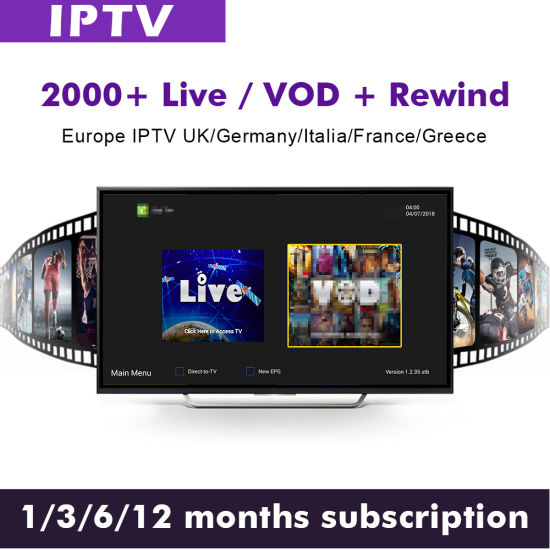 1 Year IPTV Subscription with VOD Movies & Live TV Include UK Sports Arabic  Germany Turckey IPTV Channels