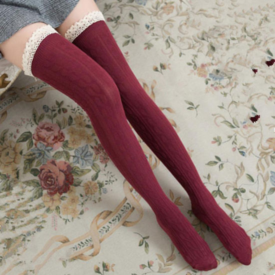 3657c62cb Fashion Sexy Lace Stockings Warm Thigh High Stockings Over Knee Socks Long  Stockings for Ladies Women