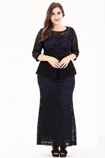 Large Size Women's Sexy Elegant Evening Dress with Blue Prom Dresses