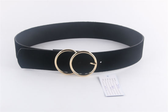 Fashion Double Round Buckle Belts with Black Velvet PU