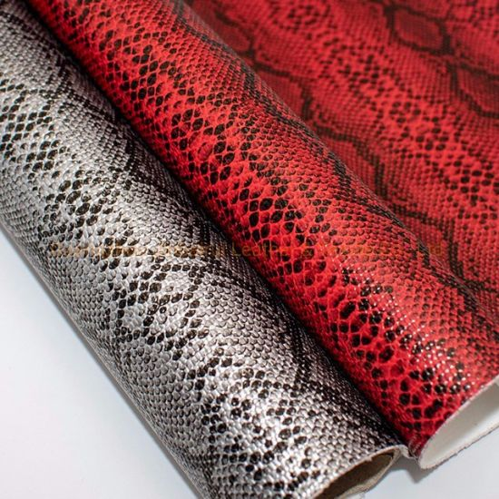 Guangzhou Wholesale Faux Synthetic Python PU/PVC Leather Good Prices for Making Shoes/Bags/Belt Material No. 2
