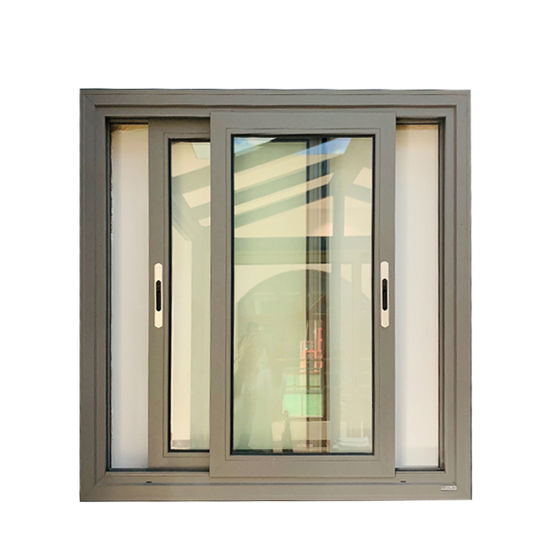 New Series of 2 Tracks Sliding Window with Double Tempered Glass Aluminum Sliding Window