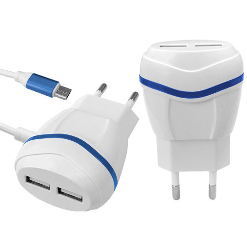 5V 1A/2.1A/2.4A Dual USB Port with EU Plug Adapter