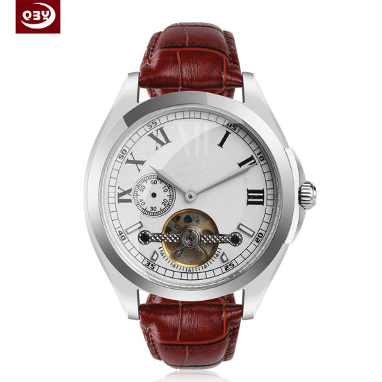 Hgih Quality Silver Stainless Steel Men′s Wrist Mechanical Watch for Gift pictures & photos