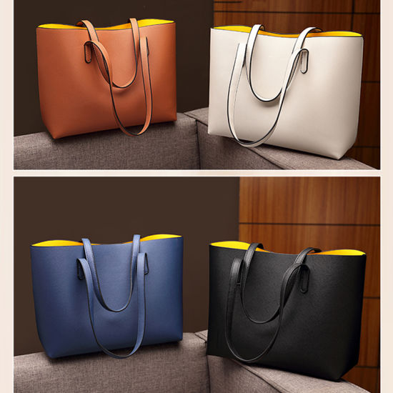 Double Colors Leisure Travel Shopper Bag PU Leather Shopping Bag Match Color Women Tote Bag