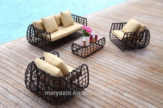 Luxury Round Rattan Wicker Garden Patio Sofa Set