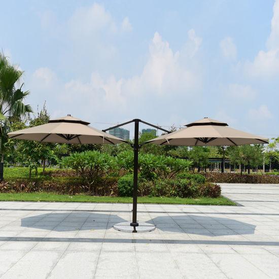 Beach Polyester Double Twin Umbrella Aluminium Outdoor Umbrella