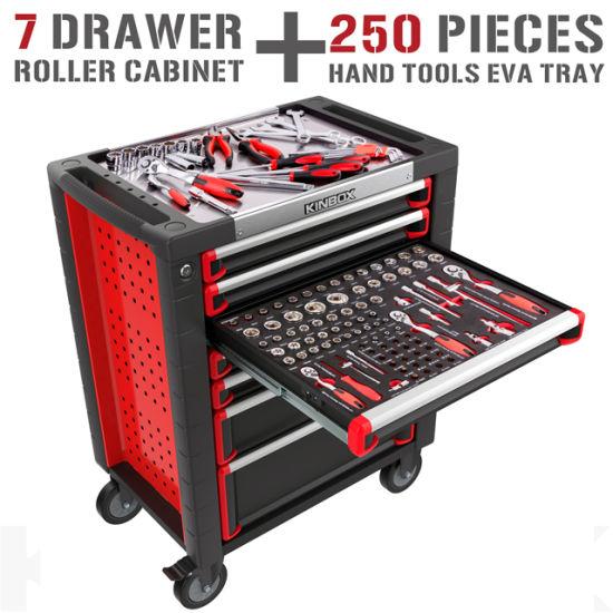 Kinbox 7 Drawer CNC Tool Box Trolley with 250 PCS Hand Tool Set for Repair